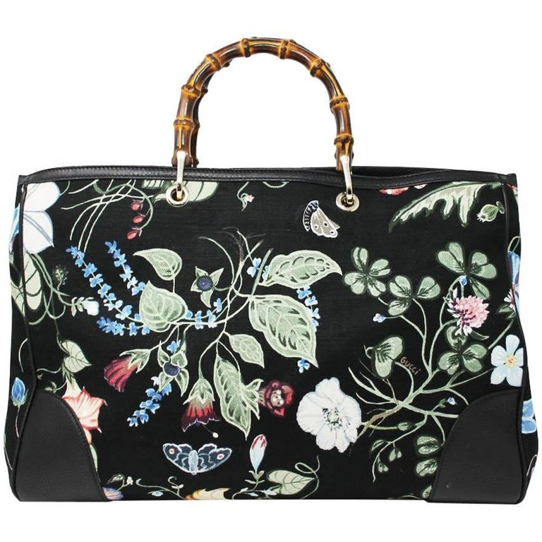 Gucci Kris Knight Black Canvas Floral Bamboo Tote Handbag For Sale