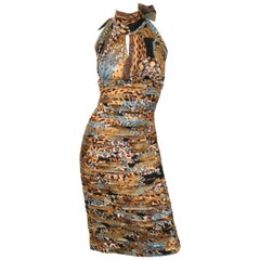 Versace Runway Iconic Plunged Neckline Dress in Browns and Turquoise, Size 4