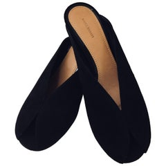 Insider Isabel Marant Black Suede Slides With Peep Toes and Geometric Heel