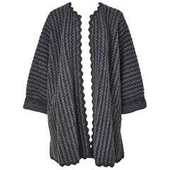Geoffey Beene Wool  Knit Swing Coat with Ric Rac Detail