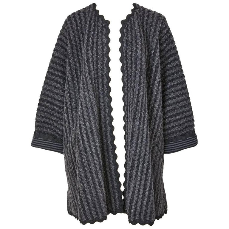 Geoffey Beene Wool  Knit Swing Coat with Ric Rac Detail For Sale