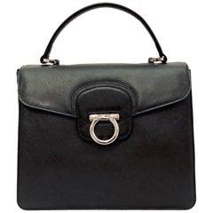 Structured Salvatore Ferragamo Black Saffiano Katia Bag