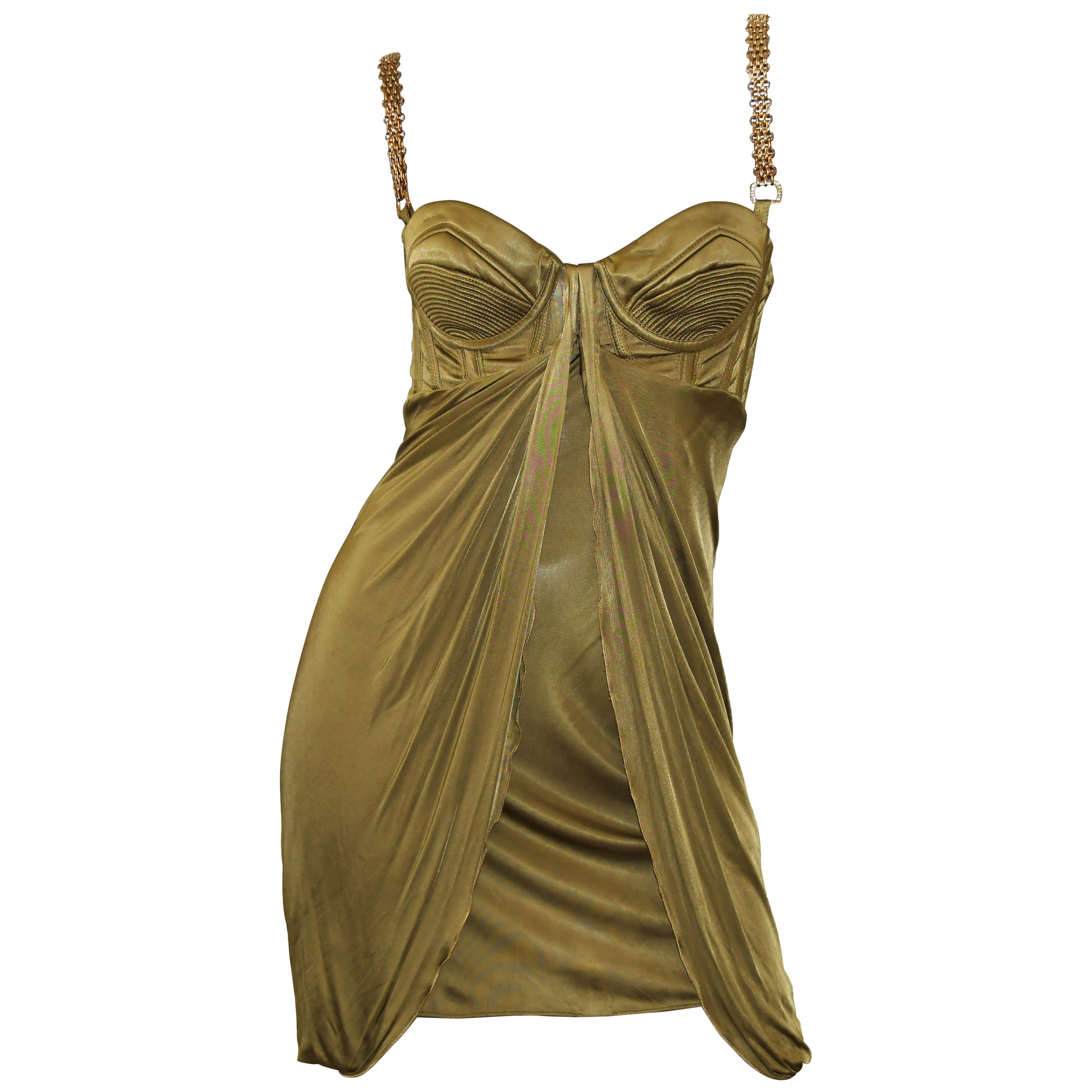 3bd96890e3dc8d Versace Chain Embellished Olive Corset Cocktail Dress, Size 40 and 44 For  Sale at 1stdibs