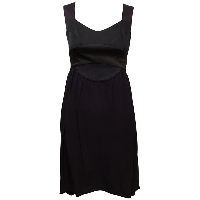 Narciso Rodriguez Purple Black Silk Asymmetric Hem Dress