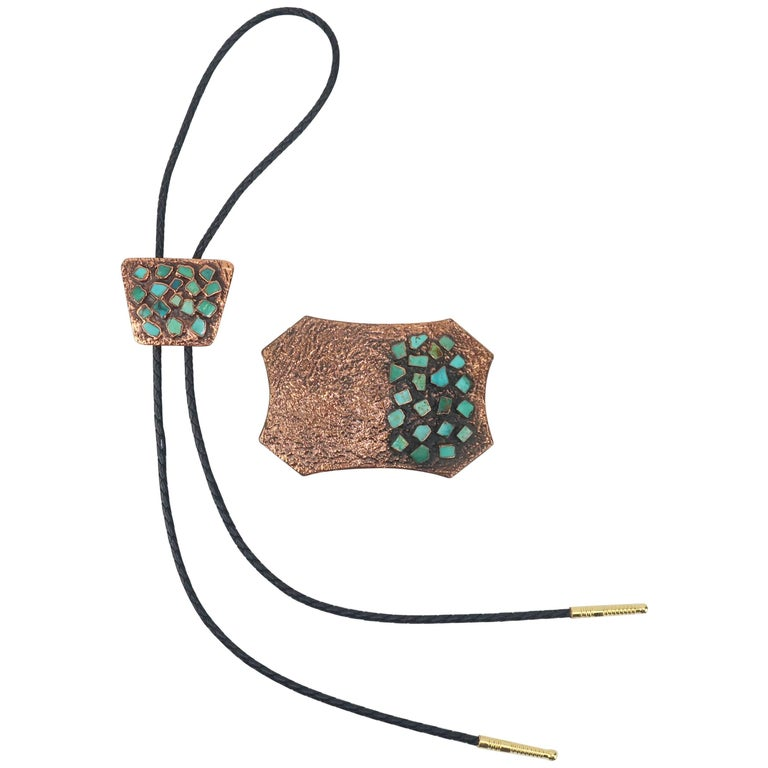 Brutalist Copper Turquoise Western Belt Buckle and Bolo Tie, Circa 1960