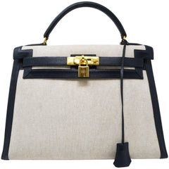 Hermes Sellier 28cm Toile Canvas Courchevel Epsom Navy Blue Leather Kelly Bag