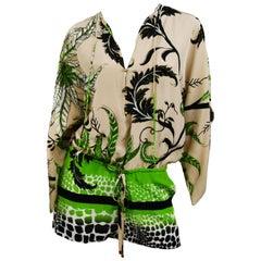 Roberto Cavalli Jungle Print Silk Chiffon Short Romper, Size 38