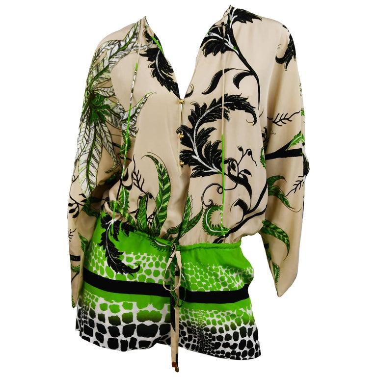 Roberto Cavalli Jungle Print Silk Chiffon Short Romper, Size 38  For Sale