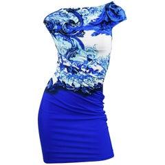 Roberto Cavalli Royal Blue with Mermaid/Sea Print Beach Dress, Size 40