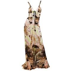 Roberto Cavalli Print Silk Chiffon Long Dress with Straps, Pinks/Browns, Size M