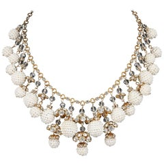 Crystal Rhinestone Pearl Cluster Gold Multi-drop Statement Bib Necklace, 1950s