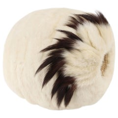 Edwardian Victorian Winter White Ermine Fur Tail Hand Warmer Muff, Early 1900's