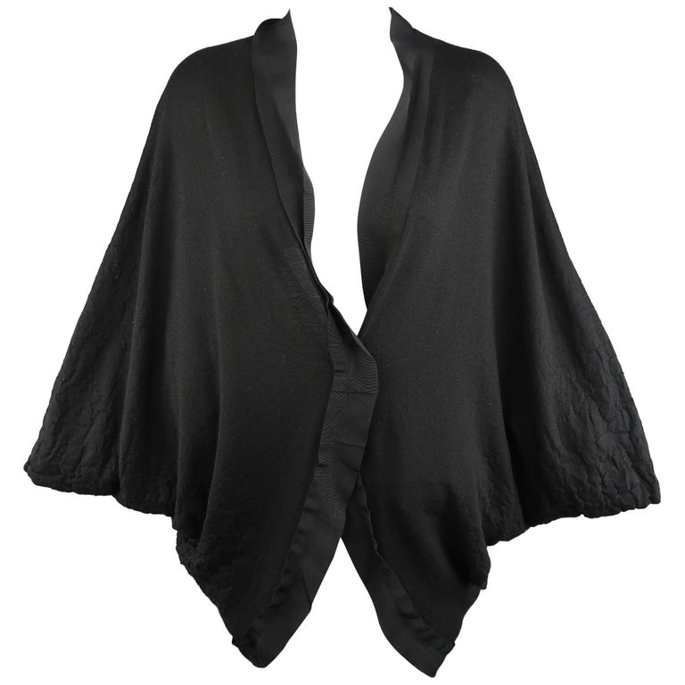 LANVIN Size M Black Textured Jersey Knit Batwing Cardigan