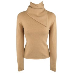 RALPH LAUREN Collection Size M Camel Cashmere Scarf Neck Pullover Sweater