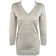 DOLCE & GABBANA Size 4 Silver & Gold Metallic Lurex V Neck Pullover