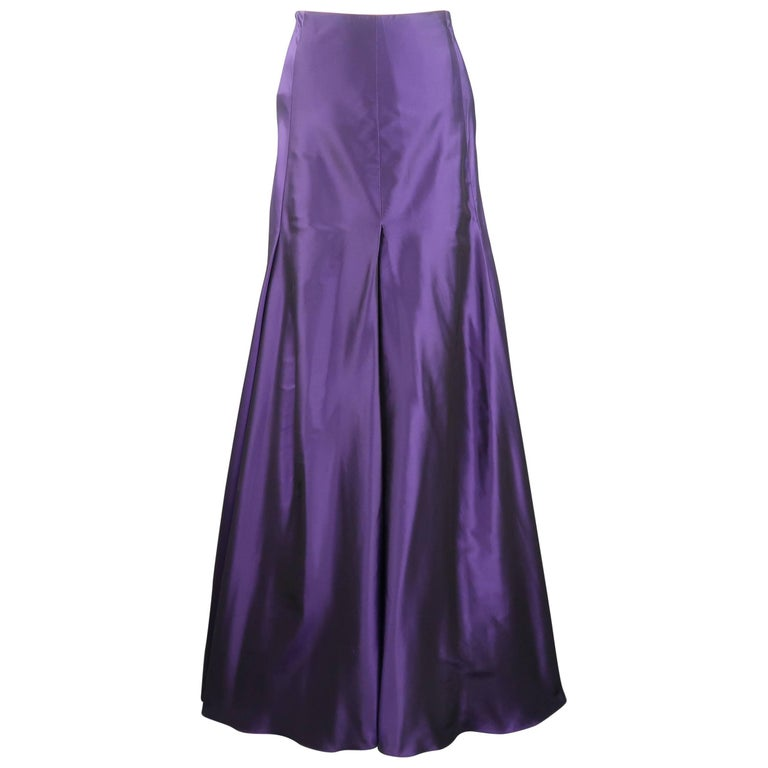 RALPH LAUREN Collection Size 6 Purple Silk Taffeta Pleated Maxi Skirt