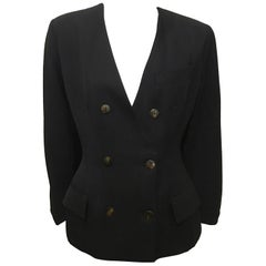 John Paul Gaultier Black Silk Lined Double Breasted Blazer