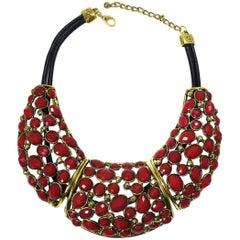 Oscar de la Renta Red Stone Necklace