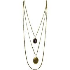 Vintage Signed Goldette Multi Chain Locket & Floral Pendants Necklace
