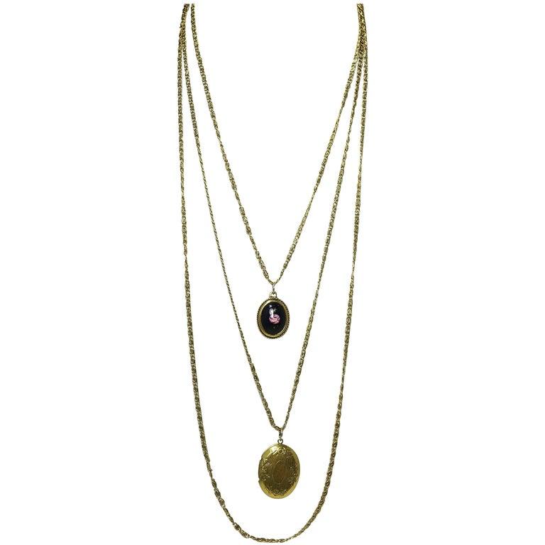 Vintage signed goldette multi chain locket and floral pendants vintage signed goldette multi chain locket floral pendants necklace 1 aloadofball Images