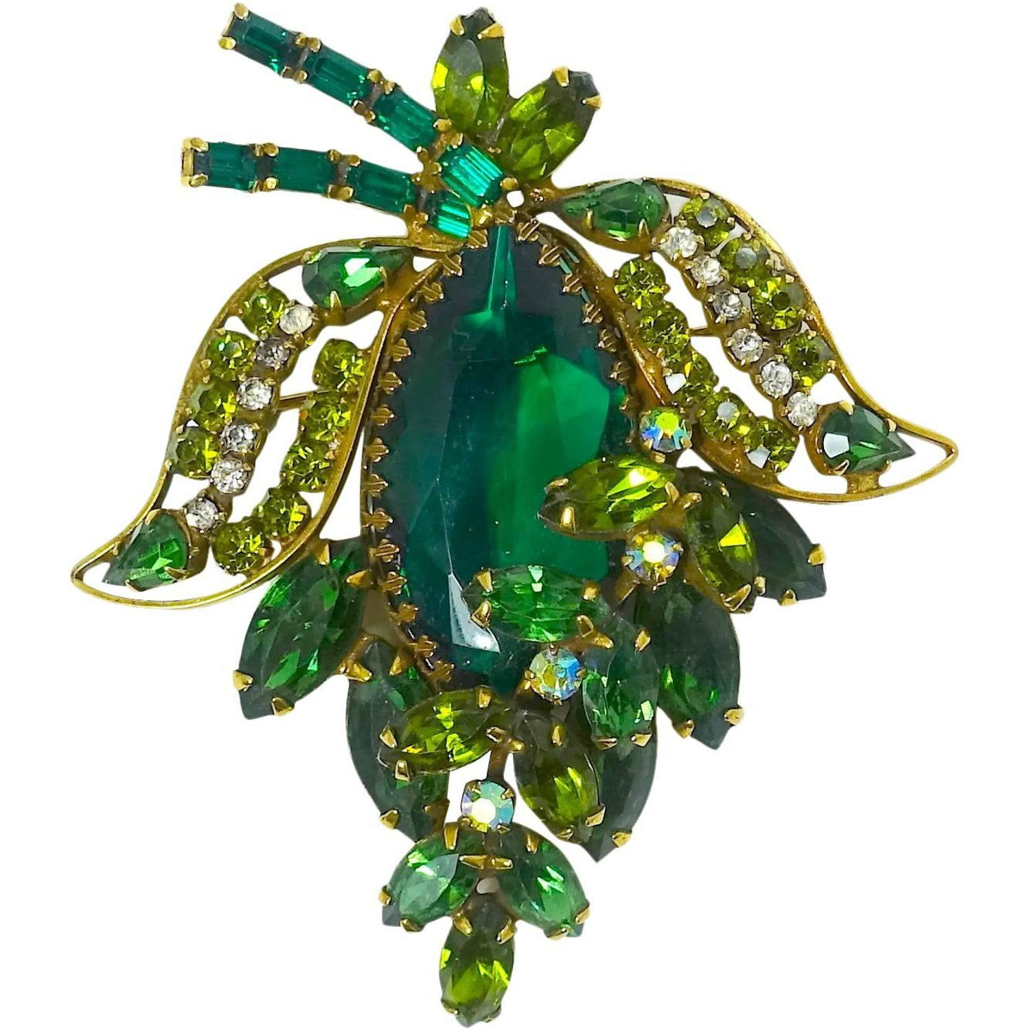 69e9b9e4165 Weiss Vintage Green Floral Brooch, 1950s at 1stdibs