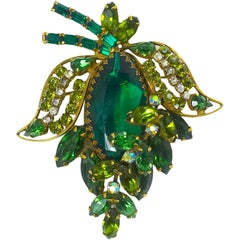 Vintage 1950s Signed Weiss Green Floral Brooch