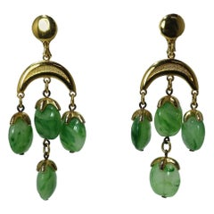 Vintage 1950s Trifari Green Dangling Earrings