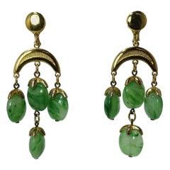 Vintage 1950s Trifari Green Dangling Earrings