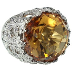 Sterling Silver & Faux Citrine Rhinestone Ring