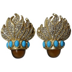 Vintage 1960's Glitzy Faux Turquoise, Topaz and Clear Rhinestone Earrings