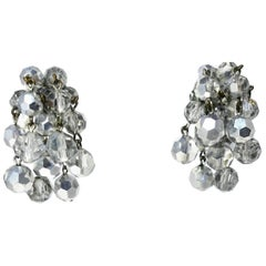 Vintage Silver Color Beads Dandle Earrings