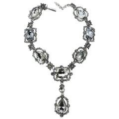 Signed Glitzy Oscar de la Renta Crystal Drop Necklace