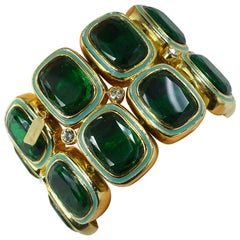 Kenneth Jay Lane Green Rhinestone And Enamel Stretch Bracelet