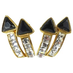 Kenneth Jay Lane Black & Clear Rhinestone Arrow Earrings