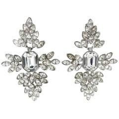 Kenneth Jay Lane Long Very Glitzy Crystal Earrings