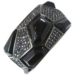 Kenneth Jay Lane Black Rhinestone Clamper Bracelet
