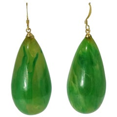 Kenneth Jay Lane Pierced Green Teardrop Earrings
