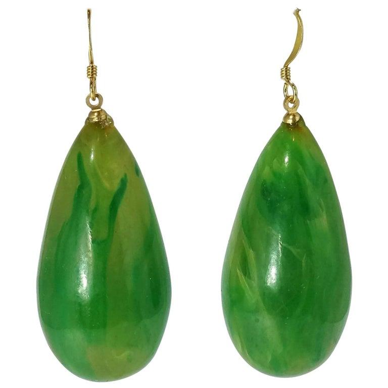 Kenneth Jay Lane Pierced Green Teardrop Earrings For