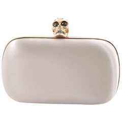 Alexander McQueen Crowned Skull Box Clutch Satin Small