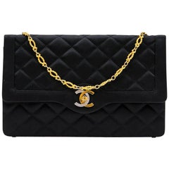 CHANEL Couture Evening Bag in Black Silk Satin