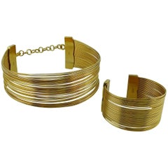 Christian Dior J'Adore Gold Toned Wire Choker and Cuff Bracelet Set