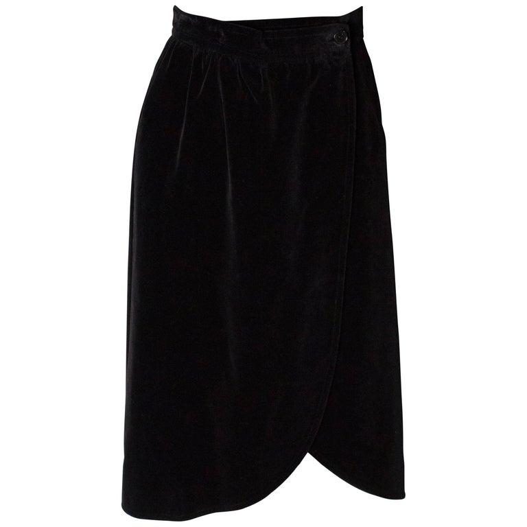 Yves Saint Laurent Vintage Velvet Skirt For Sale