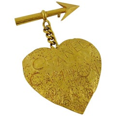 Chanel Vintage Gold Toned Heart and Arrow Brooch, Spring 1993