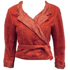 Chanel Wrap Silk Cropped Pink Salmon Jacket with Sash Closure