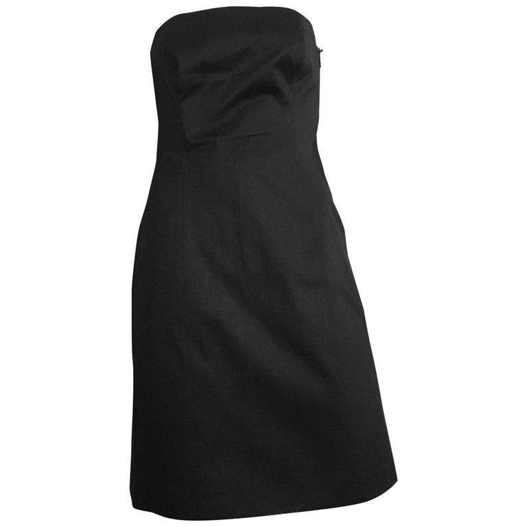 Michael Kors Strapless Cotton Black Cocktail Dress Size 4 / 6. Made in Italy.