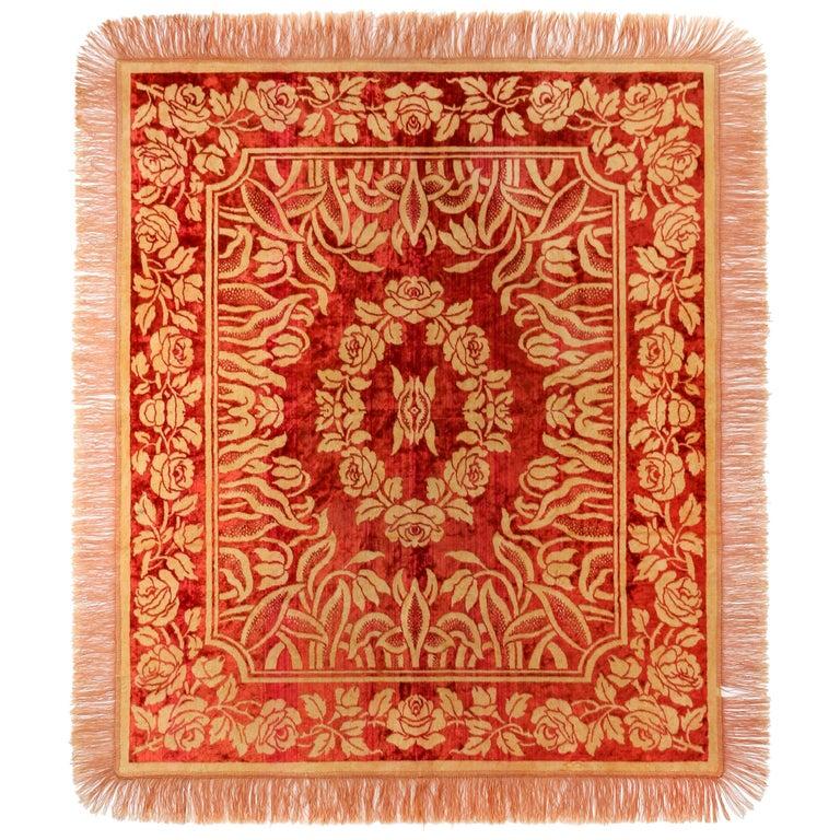 Art Nouveau Edwardian Red Floral Rose Velvet Fringed Bedspread / Throw c1910s For Sale