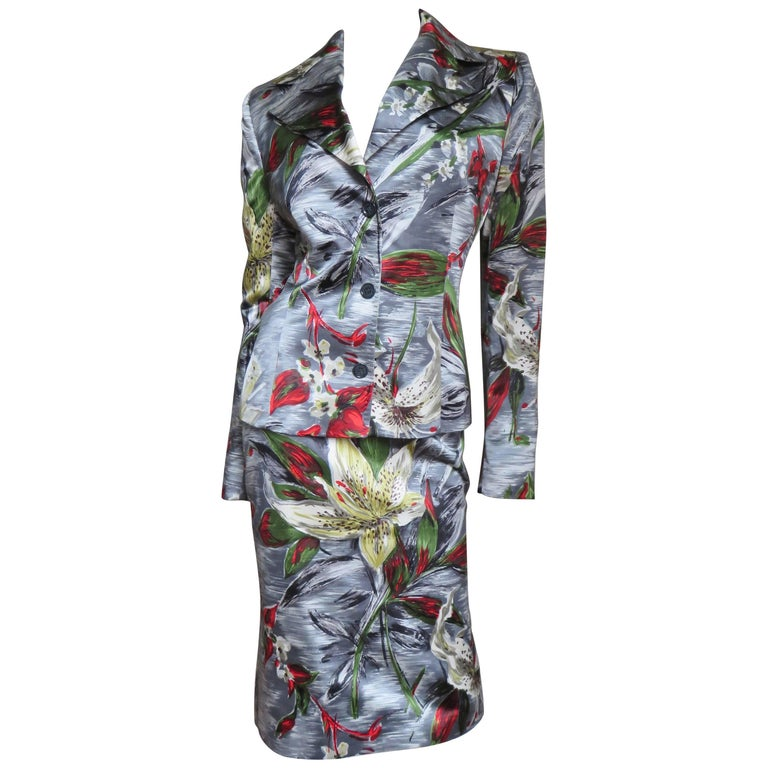 2000s Dolce & Gabbana Silk Flower Suit