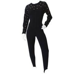 Alberto Makali Studded Black Form-Fitting Zip Up Jumpsuit