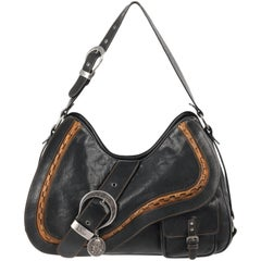 """Christian Dior """"Gaucho"""" Black and Tan Leather Double Saddle Bag Purse, S/S 2006"""
