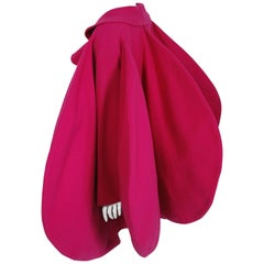 1987 Pierre Cardin Haute-Couture Magenta Pink Wool Avant Garde Fin-Back Coat